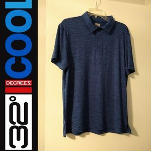 NWOT 32 Degrees Cool men's blue polo shirt